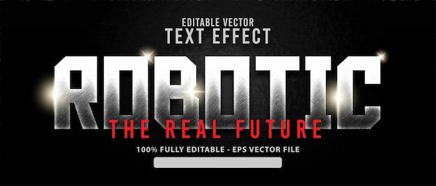 Роботизированный. блестящий металлический современный редактируемый текстовый эффект в стиле гранж, подходящий для фильмов и названий фильмов