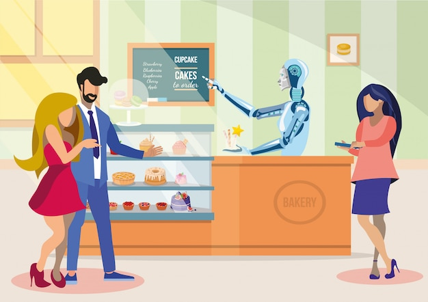Robotic shop assistant in bakery flat illustration.