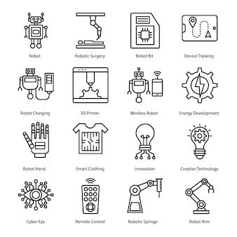 Robotic surgery glyph icons