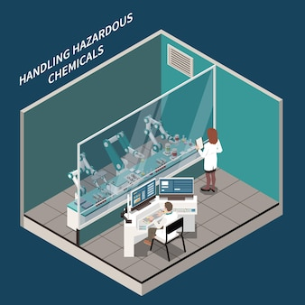 Robotic surgery and medicine isometric concept with handling chemicals symbols illustration