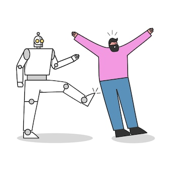 Robotic worker kicks human professional. people against robots competition concept