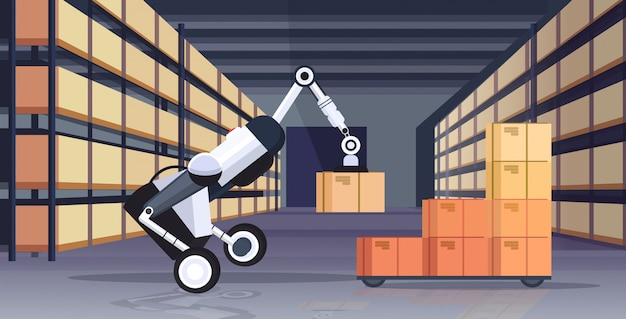 Robotic worker loading cardboard boxes hi-tech smart factory robot artificial intelligence logistics automation technology concept modern warehouse interior  horizontal