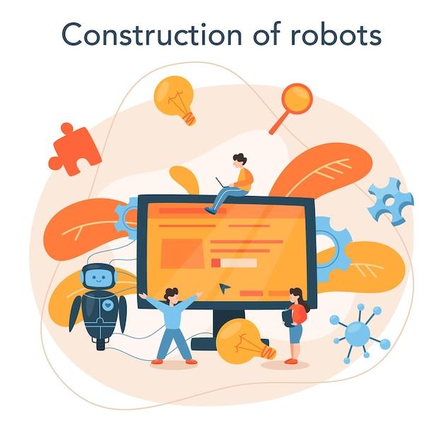 로봇 공학 개념. 로봇 공학 및 건설. 건축 산업에서 인공 지능에 대한 아이디어. 기계 자동화. 프리미엄 벡터