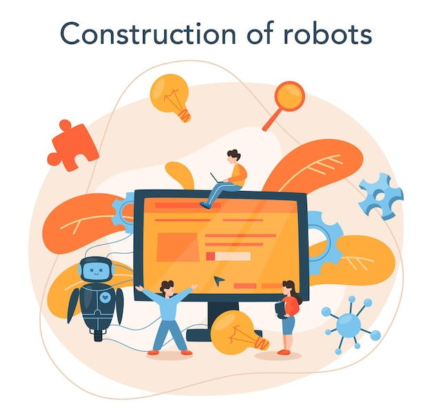 Roboticist concept. robotic engineering and constructing. idea of artificial intelligence in building industry. machine automation.