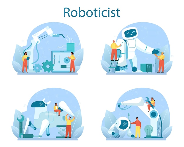 Roboticist concept set. robotic engineering and constructing.