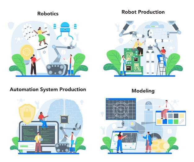 Набор иллюстраций робототехника