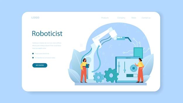 로봇 공학자 웹 배너 또는 방문 페이지. 로봇 공학 및 건설.