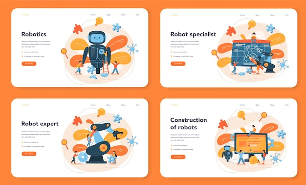 Roboticist 웹 배너 또는 방문 페이지 세트