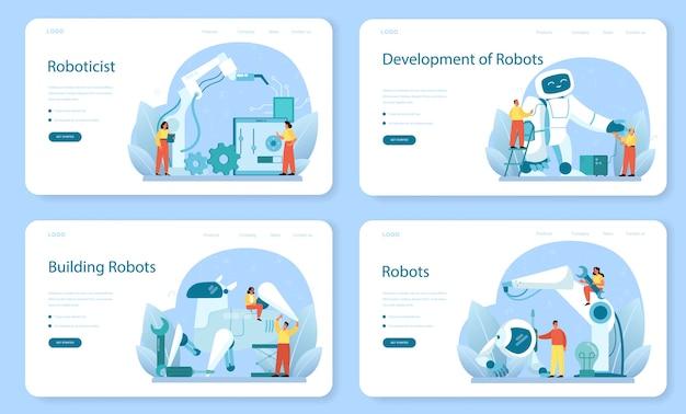 Веб-баннер робототехника или набор целевой страницы