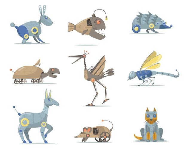 로봇 동물 세트. 사이버 개, 물고기, 거북이, 고양이, 입, 새, 곤충 흰색 절연. 평면 그림
