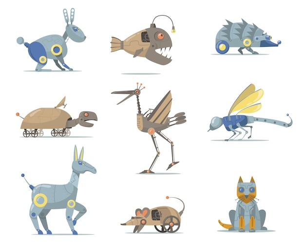 Robotics animals set. cyber dog, fish, turtle, cat, mouth, bird, insect isolated on white. flat illustration