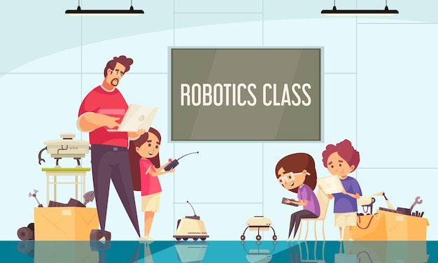 Robotics class cartoon composition with teacher demonstrating motion control of drones and robots  illustration