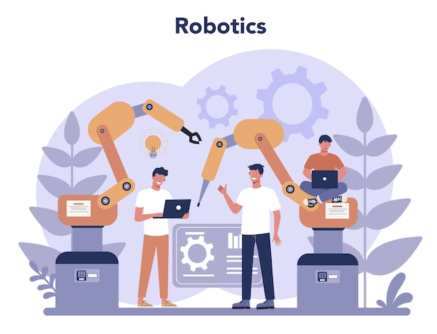 로봇 공학 개념. 로봇 공학 및 프로그래밍. 인공 지능과 미래 기술에 대한 아이디어. 기계 자동화.