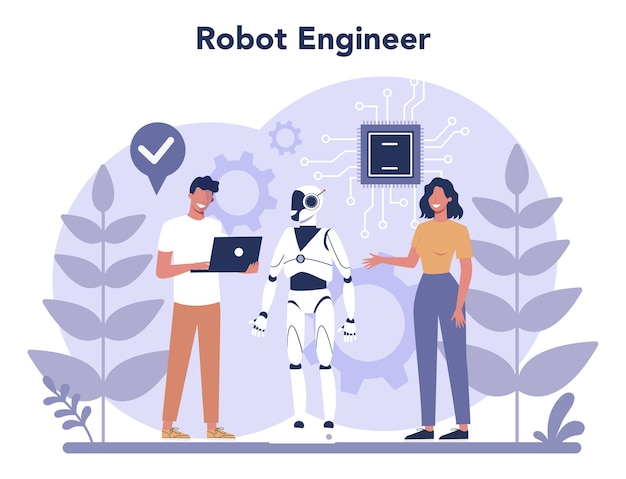 Robotics concept. robot engineering and programming. idea of artificial intelligence and futuristic technology. machine automation.