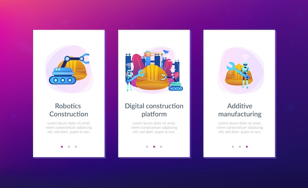 Robotics construction app interface template.