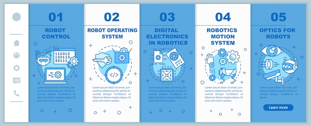Robotics courses onboarding mobile web pages template. automation. responsive smartphone website interface idea with linear illustrations. webpage walkthrough step screens. color concept