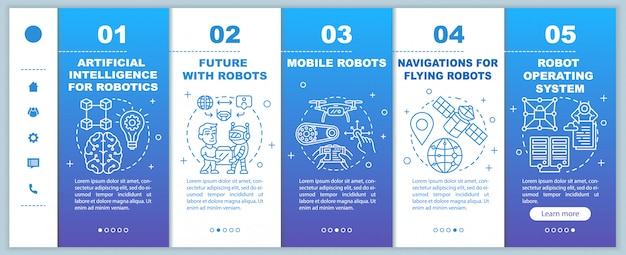Robotics courses onboarding mobile web pages template. cybernetics. responsive smartphone website interface idea with linear illustrations. webpage walkthrough step screens. color concept