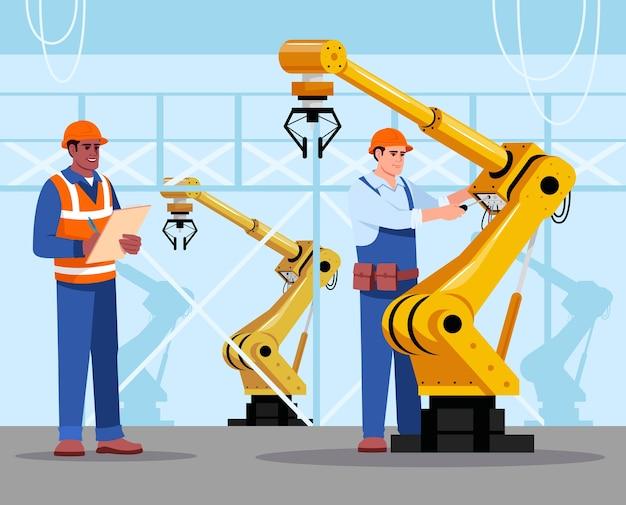 ロボット専門家のイラスト。産業メンテナンス。工場設備。自動機の手を修理する人。商業使用のためのハード帽子の漫画のキャラクターの工場の男性労働者