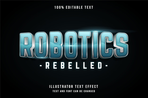 로봇 공학 반란, 3d 편집 가능한 텍스트 효과 블루 그라데이션 네온 그림자 텍스트 스타일