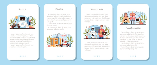 Robotics school course mobile application banner set. robotic engineering and constructing lesson for students. idea of artificial intelligence and futuristic technology. flat vector illustration
