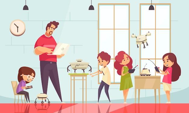 さまざまな種類のロボットをプログラミングする先生がいる、子供向けのロボット学校の漫画