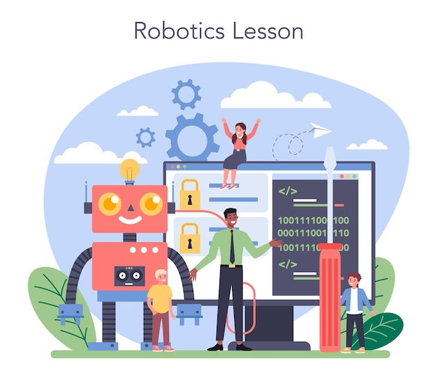 로봇 공학 학교 주제 개념. 로봇 공학 및 프로그래밍. 인공 지능과 미래 기술에 대한 아이디어. 격리 된 벡터 일러스트 레이 션