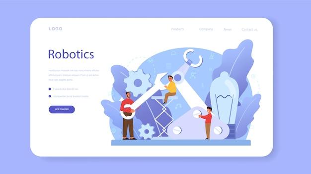 Robotics school subject web banner or landing page
