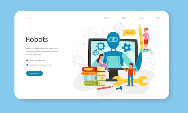 ロボット工学の教科のwebバナーまたはランディングページ。ロボット工学とプログラミング。人工知能と未来技術のアイデア。孤立したベクトル図