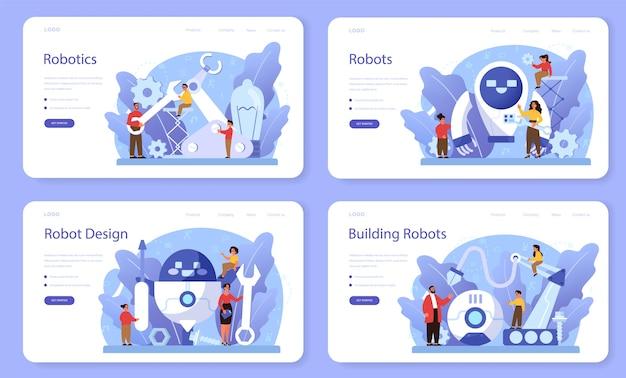 로봇 공학 학교 주제 웹 배너 또는 방문 페이지 세트. 로봇 공학 및 프로그래밍. 인공 지능과 미래 기술에 대한 아이디어.