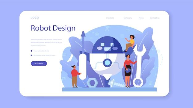 ロボット工学の教科のwebバナーまたはランディングページ。