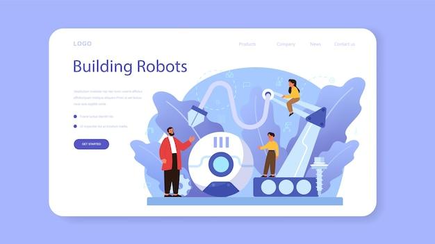 로봇 공학 학교 주제 웹 템플릿 또는 방문 페이지.