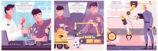 テキスト付きの実験室および産業環境での人間のキャラクターの正方形のイラストで設定されたロボット工学