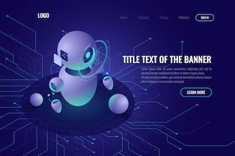 ロボット工学技術、機械教育および人工知能aiアイソメトリックアイコン