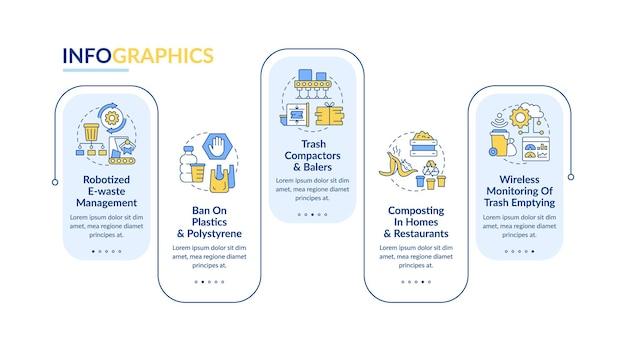 Robotized 재활용 벡터 infographic 템플릿입니다. 폐기물 관리 프레젠테이션 개요 디자인 요소. 5단계로 데이터 시각화. 타임라인 정보 차트를 처리합니다. 라인 아이콘이 있는 워크플로 레이아웃