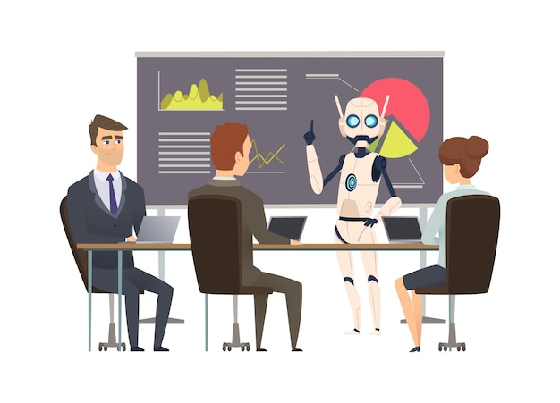 Robotization. robot makes presentation at business training. android coach and managers  illustration.