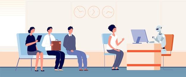 ロボット化。ロボットは顧客、アンドロイド銀行員にサービスを提供します。オフィスのベクトル図でサービスをサポートするために列を待っている人々。 hrロボット、キャリアロボット、雇用および採用