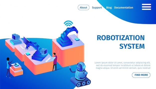 Robotization system banner. future technologies.