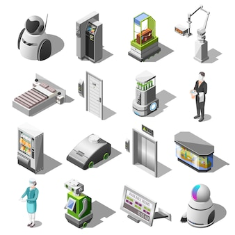 Robotized hotels isometric icons