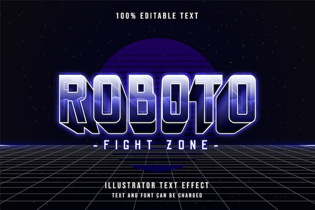 Roboto fight zone,3d editable text effect purple gradation 80s neon shadow text style