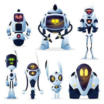 Robots and android bots, cartoon toy characters