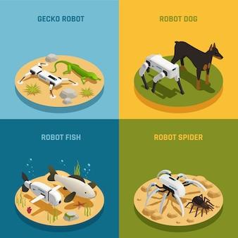 Роботы животные изометрические концепция дизайна