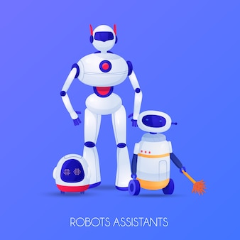 Robots assistants of various shape for different purposes illustration