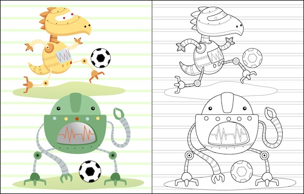 Robots cartoon playing soccer