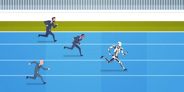 인공 지능과 미래 automa의 개념을 실행하는 인간 직원과 로봇 경쟁