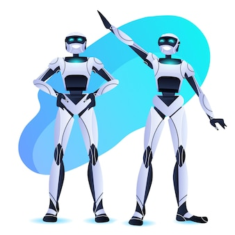 Пара роботов стоя вместе команда современных роботов