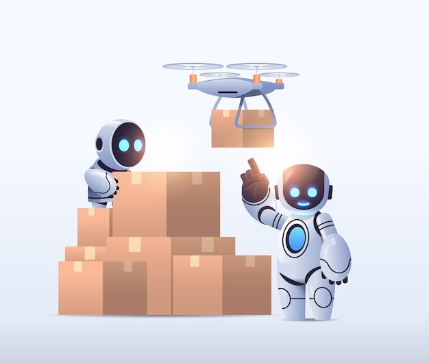Роботы курьеры возле картонных коробок авиапочта дрон быстрая доставка технологическая отгрузка искусственный интеллект