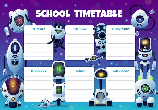 Robots, drones and androids school timetable
