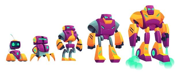 로봇 진화 만화 벡터 흰색 배경에 고립 된 그림.