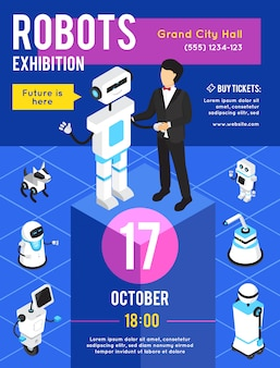 Robots exhibition isometric advertising poster