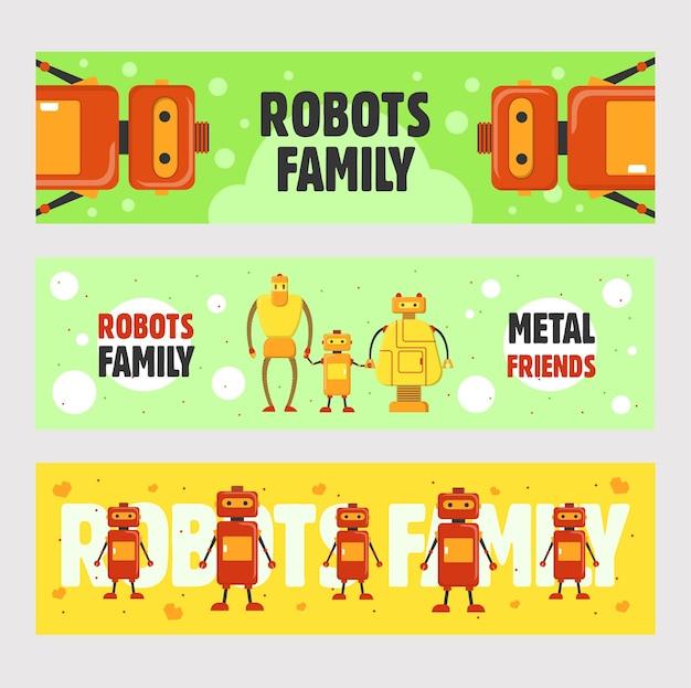 로봇 가족 배너 설정합니다. 휴머노이드, 사이보그, 전자 기계 벡터 일러스트는 녹색과 노란색 배경에 텍스트가 있습니다. 전단지 및 브로셔 디자인을위한 로봇 공학 개념